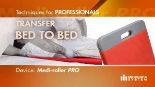 Horizontal transfer of patients between beds with Medi-roller Pro
