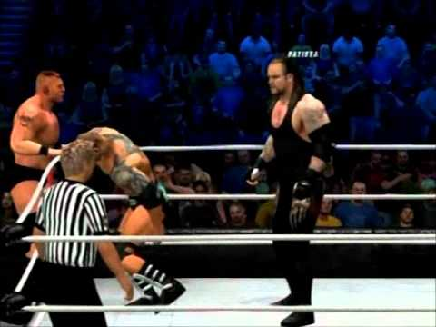 Wwe 12 Brock Lesnar & Batista Vs Undertaker & Kane video