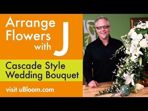 How To Arrange Flowers A Cascading Wedding Bouquet Youtube