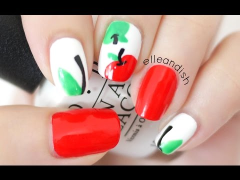 Back to School Apple Nails