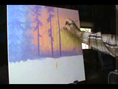 Как рисовать лес 6 на закате.
