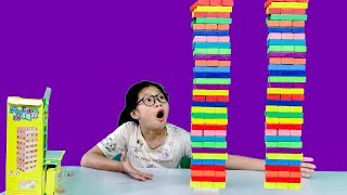 Build super-colored wood towers - Giant wooden game