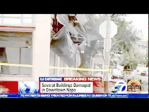 Earthquake San Francisco 2014 Napa Valley   moment Bricks falling off historic downtown Building