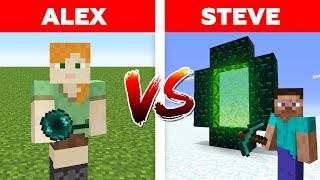 MINECRAFT - ALEX vs STEVE! ENDER PEARL vs END PORTAL / Minecraft Animation part 4
