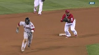 BOS@LAA: Pedroia steals second and takes third base