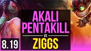 AKALI vs ZIGGS (MID) | Pentakill, Godlike, KDA 20/5/7 | EUW Master | v8.19