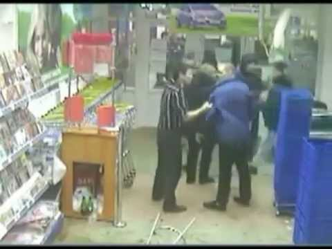 The brutal fight in supermarket, Krasnoyarsk, Russia (fight)