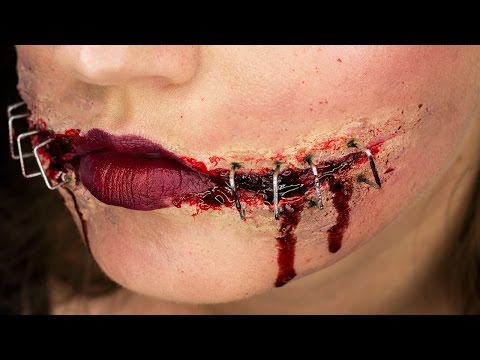 Ripped & Stapled Mouth | Chelsea Smile Halloween Tutorial