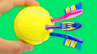 10 LIFE HACKS AND CRAFTS WITH TENNIS BALL