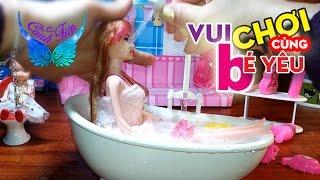 Mở hộp đồ chơi Phòng Tắm Búp Bê Barbie - bồn tắm vòi hoa sen phun nước mát lạnh ★ Chị Cánh tiên