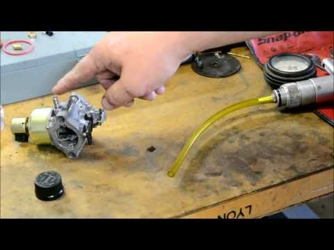 BRIGGS AND STRATTON CARBURETOR REPAIR / CRANKCASE FULL OF GAS / NEEDLE SEAT REPLACEMENT