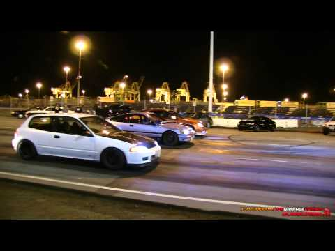 Turbo B16 Civic vs Nitrous RSX vs B18 CRX
