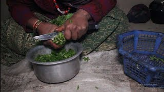 Cooking green organic vegetables in village ll Primitive technology ll Rural life