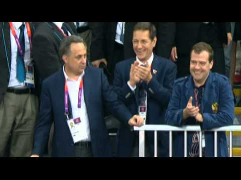 Prime Minister Dmitry Medvedev Congratulates Russia's Women's V'Ball Team: London 2012 Olympics