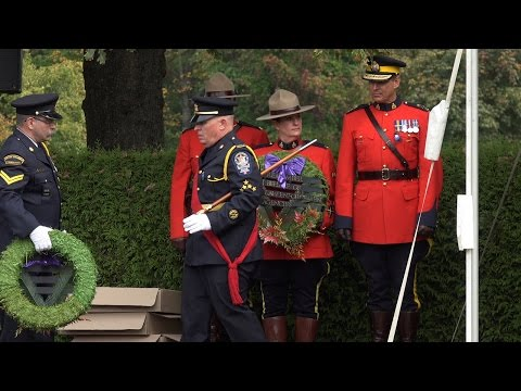 RCMP BC Law Enforcement Memorial in Stanley Park Vancouver Canada (4K Video)