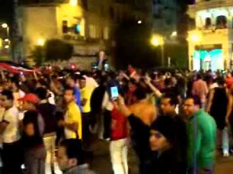 Crazy soccer fans in Cairo—Egypt vs. Algeria 2010 World Cup qualifying match