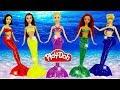 Куклы ПРИНЦЕССЫ ДИСНЕЯ РУСАЛКИ Наряды русалок из Плей До Поделки из пластилина Play Doh. Игрушки +1