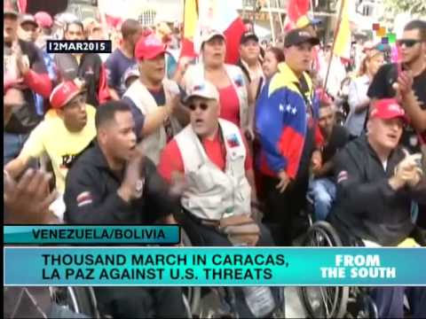 Thousands demonstrate in Venezuela, Bolivia against US threats