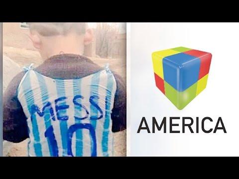 Encontraron al nene que se hizo la camiseta de Messi con una bolsa