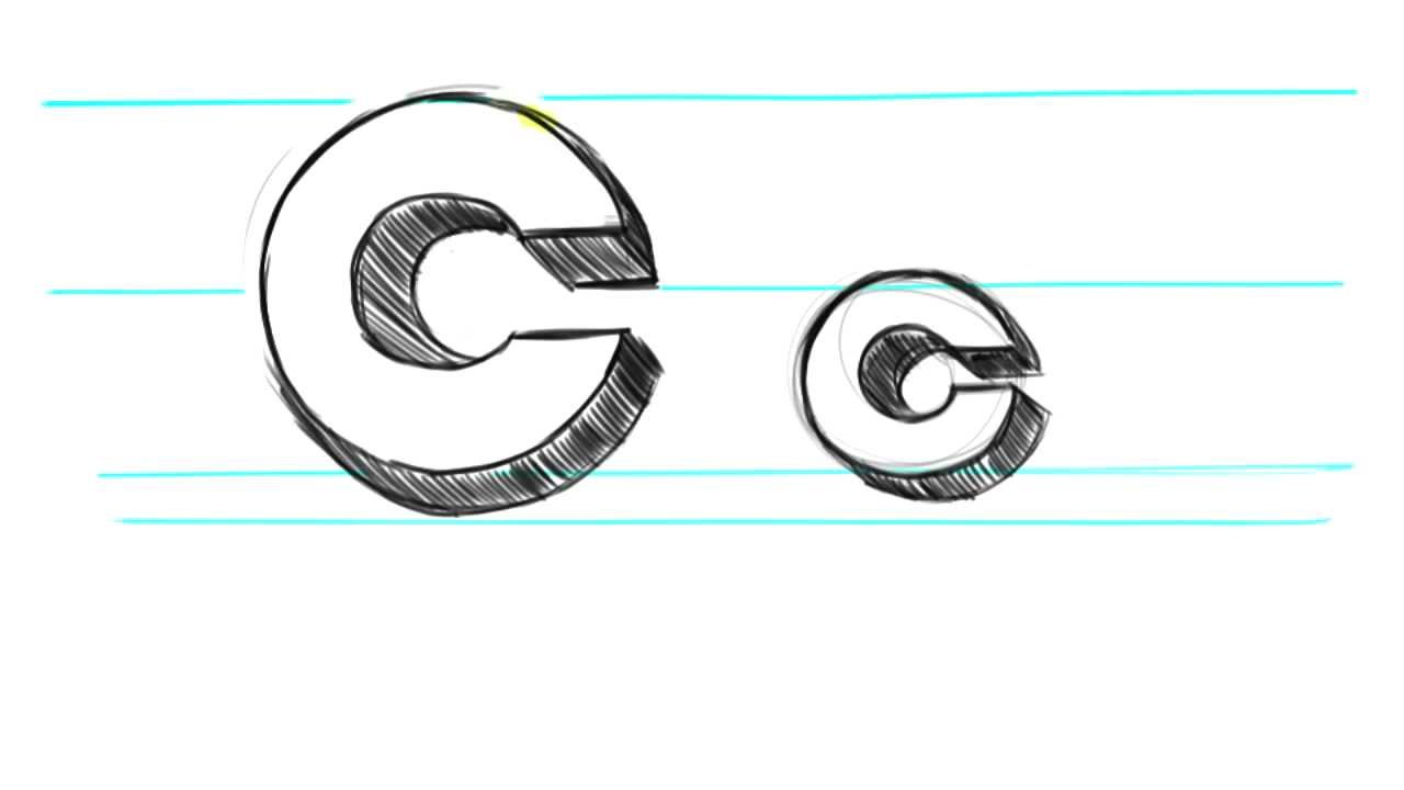 N In Bubble Letters How to draw 3D Letters C