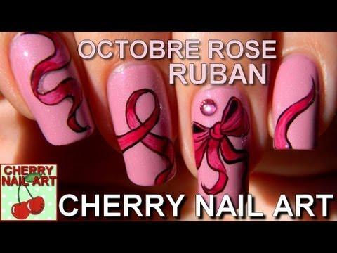 Tuto nail art - octobre rose, noeuds et rubans (HD)