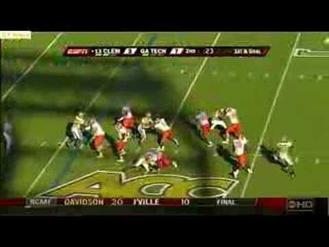 Ga Tech defensive end Darrell Robertson sacks Clemson QB
