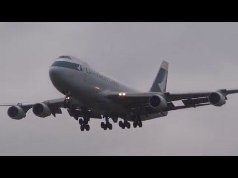 B-LID Cathay Pacific Cargo Boeing 747-400 Landing at London Heathrow airport