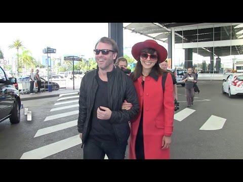 Exclusive - Noomi Rapace and her man, Abel Ferrara and his woman and child at Nice Airport attending