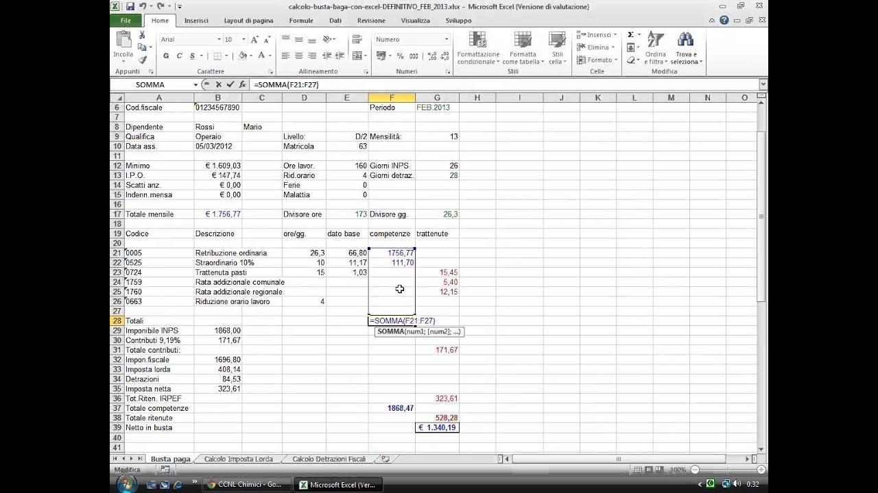 Calcolo Busta Paga Con Excel 2010 Youtube