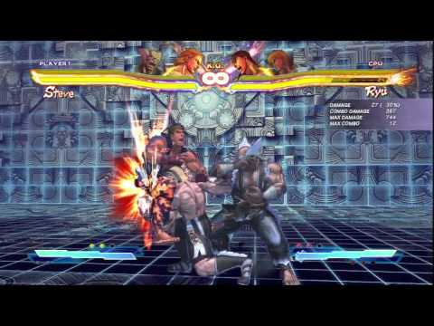 SFxT Heihachi Combo 1: 403dmg cross rush to Steve meterless