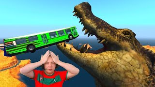 High-Speed Jumping Over Canyon with Alligators - Beamng Drive