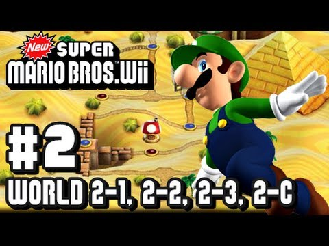 New Super Mario Bros Wii - Co-Op - Part 2 World 2-1, 2-2, 2-3, & 2-Tower