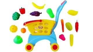 Toy shopping cart learn names of toy fruits and vegetables toy supermarket shopping basket