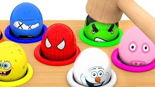 Whack a mole Character Surprise Eggs Learn Colors Funny educational video for Kids Children