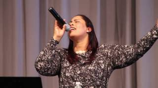 Azeb Hailu ministering in the Rehoboth Grace Evangelical Church in Boston 2017