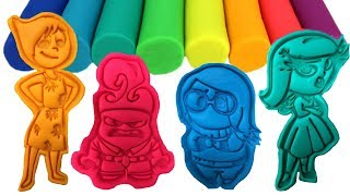 Inside Out Play-Doh Cookie Cutters and Surprise Toys Joy Sad Anger Disgust Fear Learn Colors