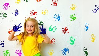 Learn Colors with Wall painting for Children Finger Family Songs nursery rhymes
