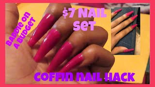 $7 COFFIN NAILS | DIY EASY NAIL HACK | Do your nails at home!