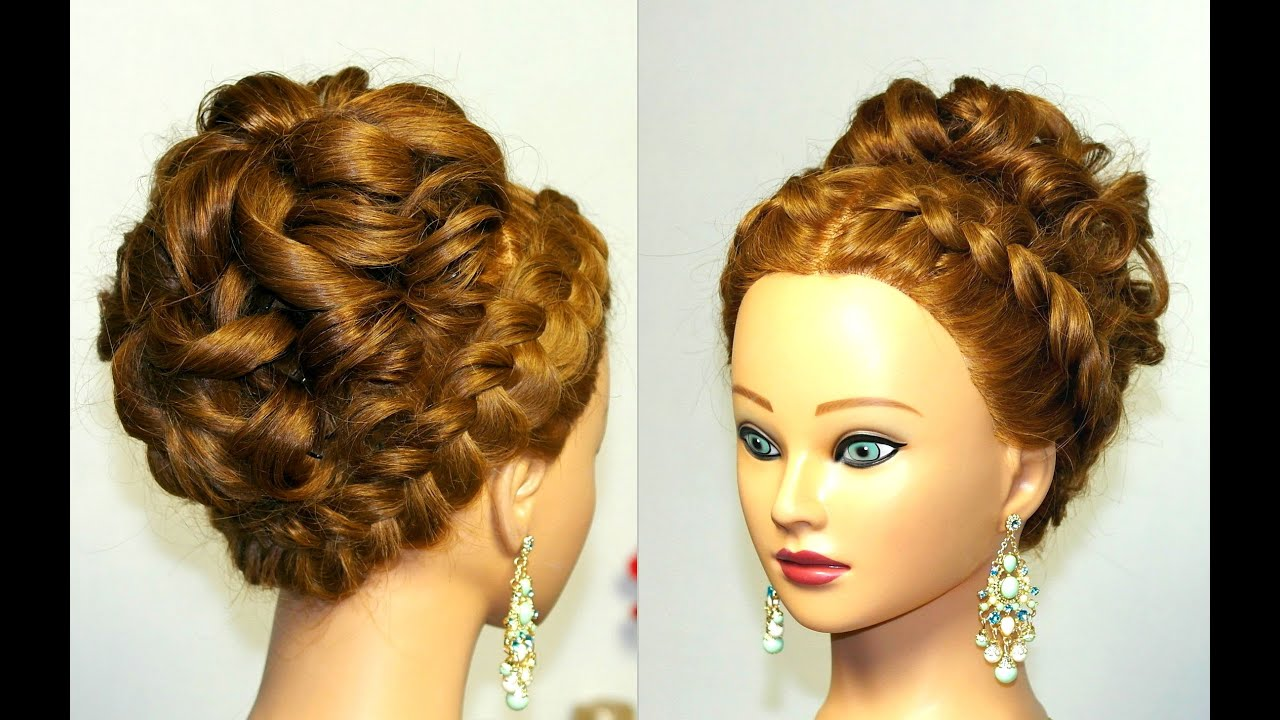 Wedding prom hairstyle for long hair with french braid - YouTube