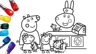 Peppa Pig Goes To Doll Hospital ! | Peppa Pig Coloring Pages [1080p]