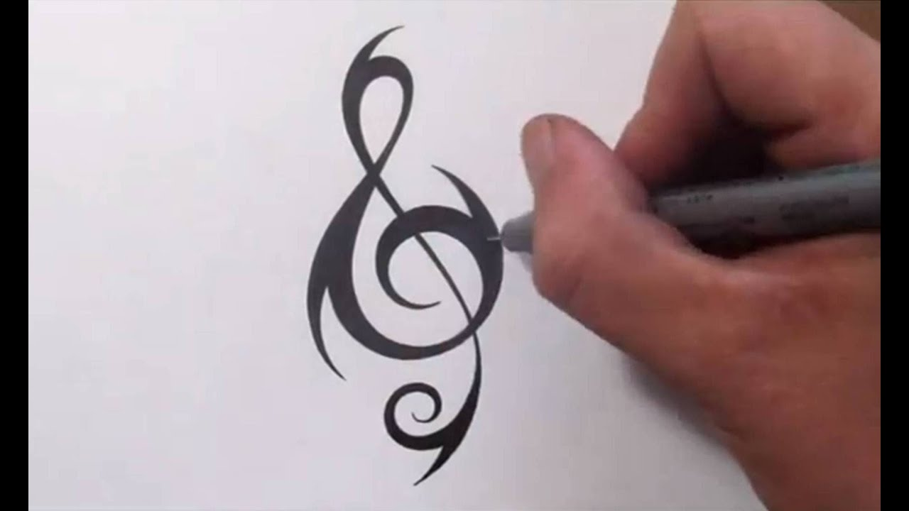 how to create a unique tribal treble clef tattoo design youtube. Black Bedroom Furniture Sets. Home Design Ideas