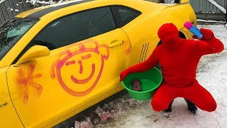 Funny Purple Fat Man with Paint VS Red Man on Chevrolet Camaro in CAR WASH for Kids