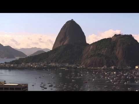 Pan shot of Sugarloaf Mountain and Guanabara bay - Rio de Janeiro, Brazil.