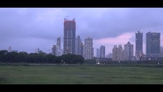 360 Degree View Of Towering Skyline Of Mumbai From Mahalaxmi Race Course At Dusk