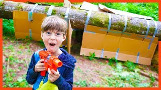 Axel Builds a BOX FORT TREE FORT in the WOODS!