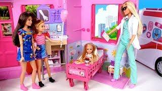 Barbie Chelsea Sick Morning Routine - Doll Hospital Room  & Barbie Pediatrician