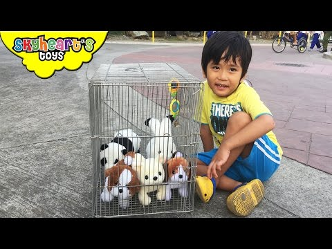 Poor Puppies inside a cage - playtime with animal toys for kids