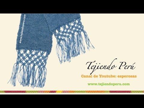 Bufanda en tejido tubular con borde en macramé