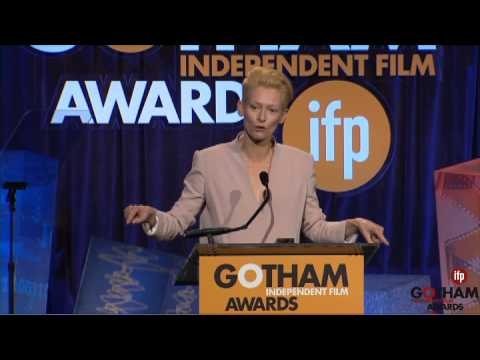 Tilda Swinton accepting a Gotham Tribute at the 2014 Gotham Independent Film Awards