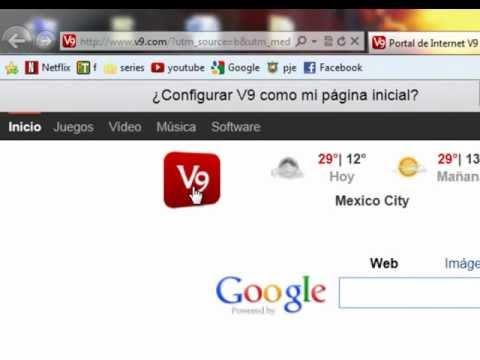 Como quitar v9 del navegador